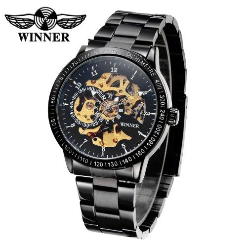 Zwycięzca Luxury Brand Skeleton Semi Automatic Men Mechaniczne Oglądaj Luminous Stal nierdzewna Ręcznie uzwojone Business Man Zegarek na rękę z 2 pokrętłem