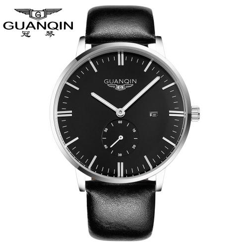 GUANQIN moda nuevo lujo hombre cuarzo reloj Dial grande cuero correa Sport Casual hombres reloj de pulsera