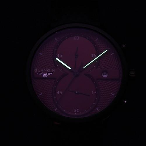 GUANQIN 2016 Fashion Men's Luxury Top Brand Big Dial Full Black Sport Quartz Watch with Stopwatch Male Wristwatch
