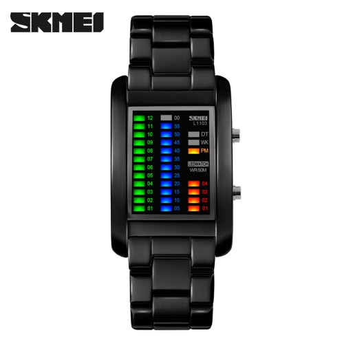 SKMEI Rectangle Electronic LED Water Resistant Digital Wristwatch Fantastic Solid Unisex Watch with Calendar