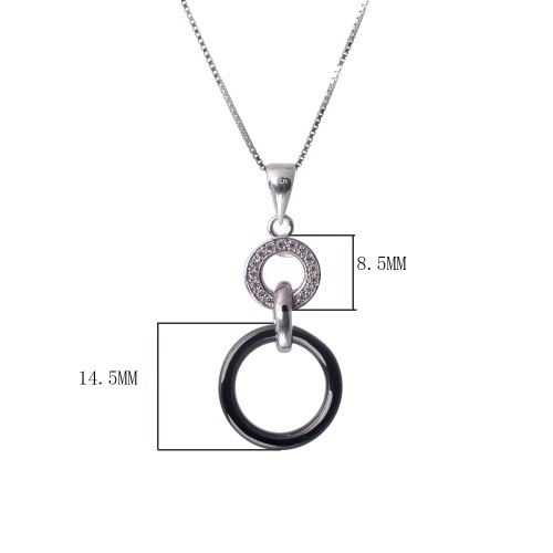Women Girl Fashion Unique 925 Sterling Silver Zircon Rhinestone Crystal Ceramic Double Rings Pendent Necklace Chain Jewelry for Party Wedding Gift