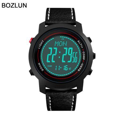 257d745ae15 BOZLUN Luxury Brand Homem do relógio de homens Relógios digitais Couro 50m  Water Resistant EL Back