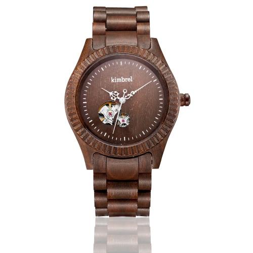 Kimbrel modische Art Marken-Männer Frauen Unisex Sandelholz Holz automatische mechanische Selbstaufzug-Uhr-Armbanduhr 10m Wasserdicht