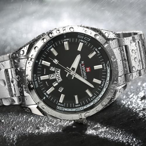 Resistente Analog Man NAVIFORCE agua 3ATM del reloj de alta calidad en acero inoxidable correa de reloj de cuarzo reloj de pulsera de negocios con la semana de la fecha de funciones