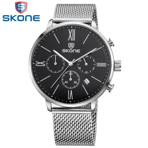 SKONE Decent Business Watch mit empfindlichem Pointer Durable Alloy Armband Quarz Mann-Armbanduhr mit Kalender