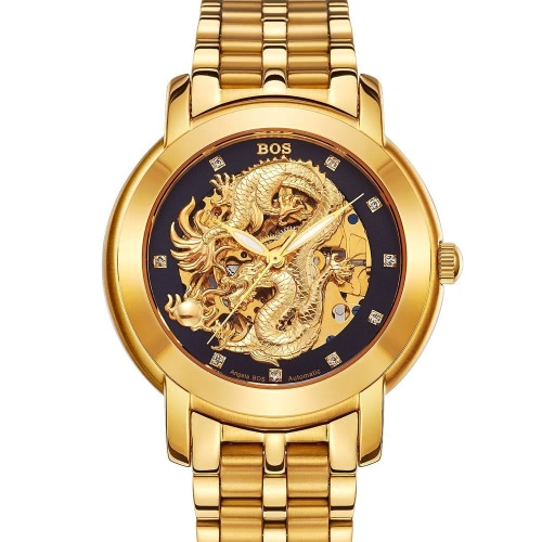 Angela Bos Luxury Golden Chinese Dragon Automatic Mechanical Wristwatch