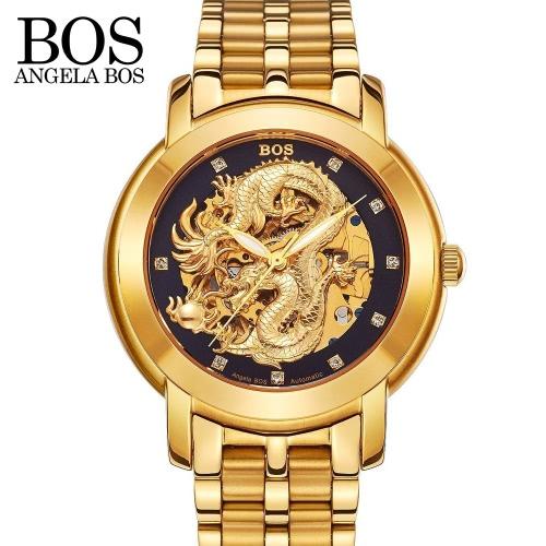 Angela Bos Relógio de pulso mecânico automático dourado dourado dourado do dragão