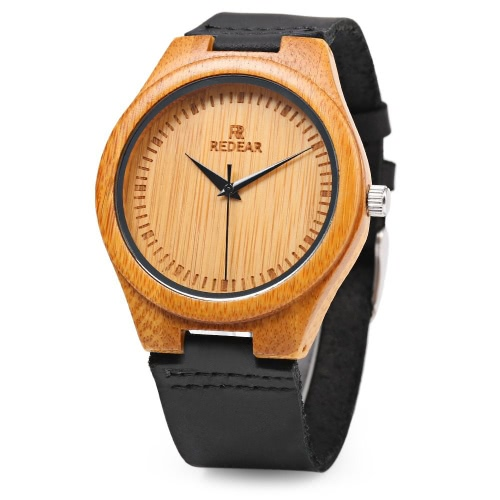 REDEAR Simple Dial Unique Natural Bamboo Wristwatch