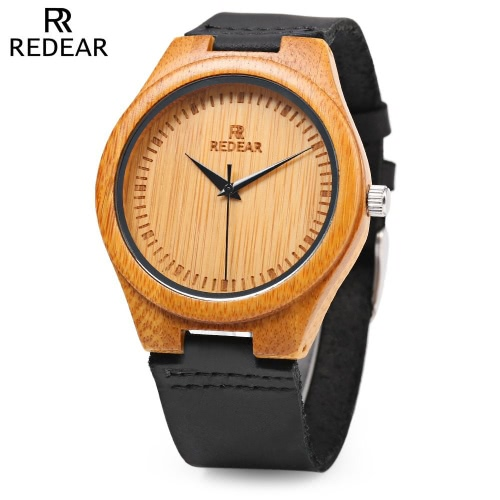 REDEAR Relógio simples exclusivo relógio de pulso de bambu natural