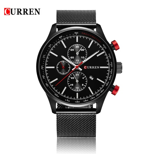 Resistente à água CURREN 2016 Marca de luxo Mens Quartz Casual Assista 30M diário do homem de negócio de pulso W / calendário do relógio para o homem