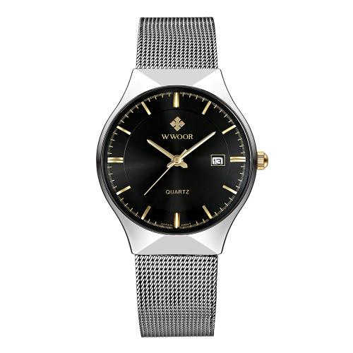 WWOOR 2016 Ultrafino Dial Moda malha de aço inoxidável Relógios Calendário Quartz Analog Men Casual Relógio de pulso 30M à prova de água + Watch Box