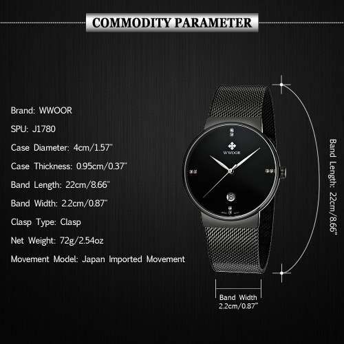 WWOOR Ultra Thin Fashion Luxury Diamond Quartz Ananlog Man Casual Wristwatch Stainless Steel Simplicity Men Decorative Watch + Watch Box