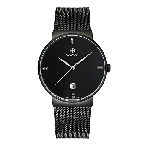 f5ec0d7cf2 WWOOR Ultra Thin Fashion Luxury Diamond Quartz Ananlog Man Casual  Wristwatch Stainless Steel Simplicity Men Decorative