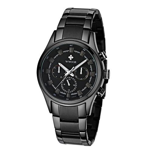 WWOOR Moda função Multi-Luminous Quartz Mens Relógios analógicos à prova de água do homem de negócio relógio de pulso com 24H / semana / data de exibição + Watch Box