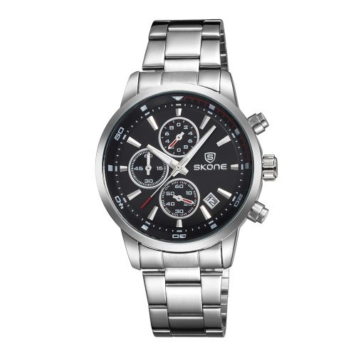 SKONE 2016 Marken-Art- und 30M wasserdichte Ganzstahlmänner Geschäfts-Kleid-Uhr-Kalender-Quarz-Mans beiläufige Armbanduhr