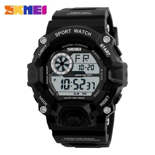 SKMEI Marca Digital LED 50M à prova de água Esportes Militares Relógios Moda Homem eletrônico ao ar livre relógio de pulso Casual Relógio Backlight Chronograph Data Masculino Relógio