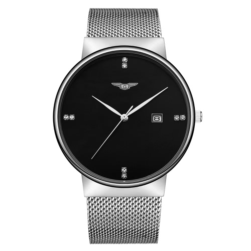 GUANQIN Stainless Steel Mesh Strap Quartz Watch Trendy Analog Man Business Wristwatch Rhinestone Hour Markers