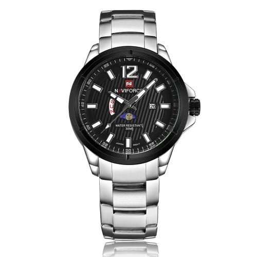 NAVIFORCE 2017 Marca de moda de lujo de acero inoxidable reloj de los hombres de negocios calendario del cuarzo hombre a prueba de agua reloj con Luna Función Frase