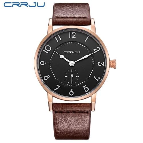 CRRJU Oryginalny skórzany pasek 3ATM Water Resistant Dzienna Męska Analog Watch Prosty zegarek z cyframi arabskimi Hour Marker