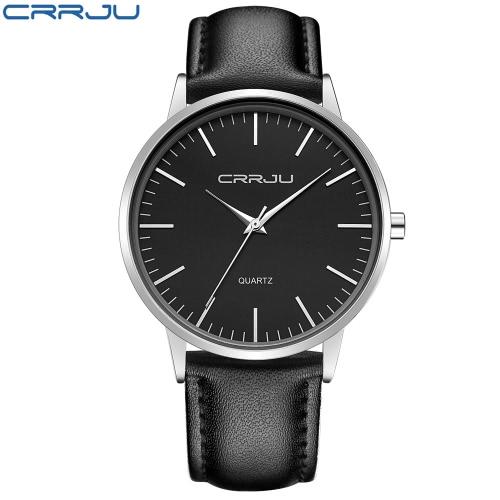 Odporne CRRJU minimalistyczny design Man Business Watch 3ATM Dzienne Woda PU skórzany pasek Analog Watch