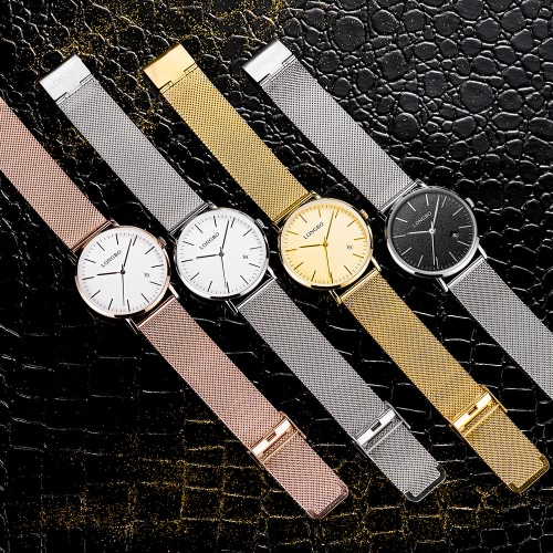 LONGBO Brand Fashion Modern Style Alloy Mesh Belt Men & Women Casual Watch Luxury Lovers Couples Watches Man Date Day Waterproof Woman Rose Gold Quartz Wristwatch 5009