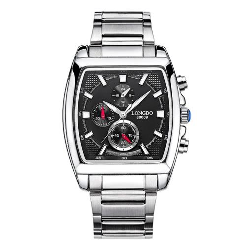Longbo Marka mody zegarek kwarcowy Casual Luxury prostokątne zegarki Mężczyźni Alloy Pasek zegarka zegarki Mężczyzna Wojskowy 80009