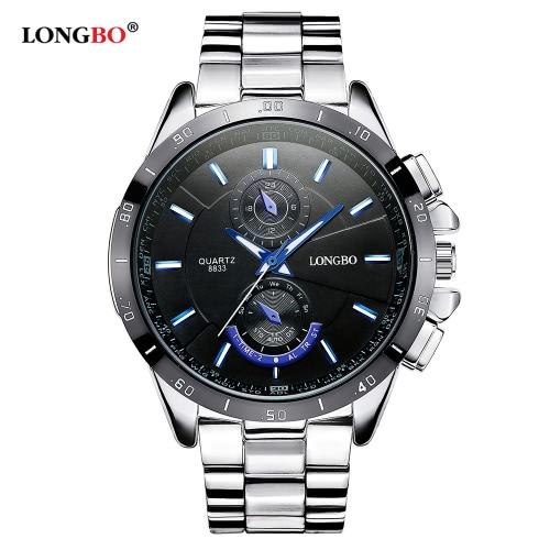 LONGBO Brand New Fashion Sports Wristwatch Luxury Quartz Watches Men Alloy Strap Watches Man Waterproof Military Watch 8833