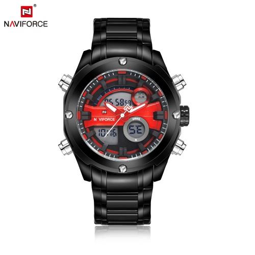 NAVIFORCE doble de tiempo Digital Sports Militar reloj 3ATM resistente al agua duradero de acero inoxidable de cuarzo Hombre-Digital Reloj de pulsera con calendario alarma / Cronómetro / Función / Luminous