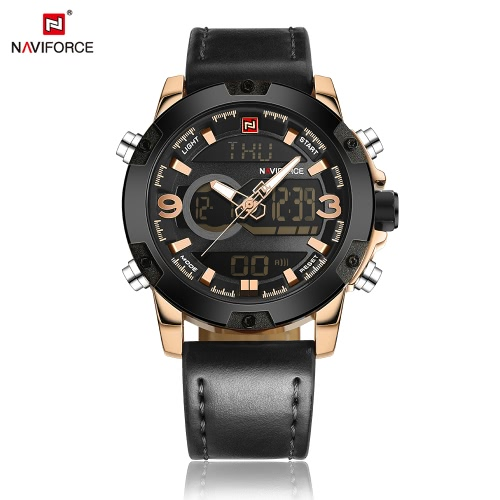 NAVIFORCE Mann beiläufige Art und Weise Sport Militär Armbanduhr Dual Time Analog-Digital-Display-Uhr 3ATM Wasserdicht gute Qualitätsechtes Lederband Leuchtzeigern