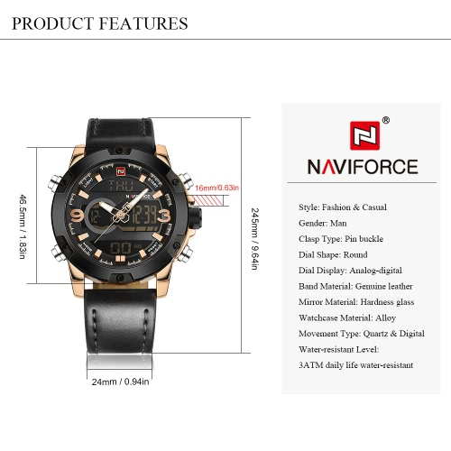 NAVIFORCE Man Fashion Casual Sports Military Wristwatch Dual Time Analog-Digital Display Watch 3ATM Water Resistant Good Quality Genuine Leather Strap Luminous Hands