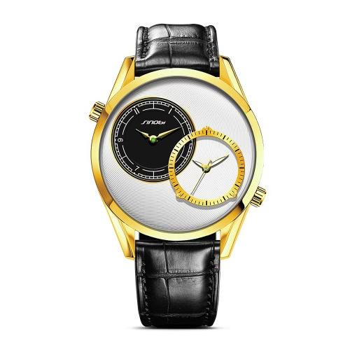 SINOBI Dual Time Uhr-Mann-beiläufige Art und Weise Armbanduhr 3ATM Wasserdicht Doppelzifferblatt Zu