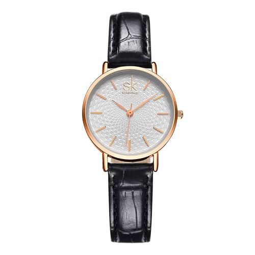 SK 2017 Marke Luxus-Ineinander greifen Edelstahl / PU-Bügel-Quarz-Frauen-beiläufige Uhr-30M wasserdichte Damen Geschäfts-Armbanduhr Feminio Relogio