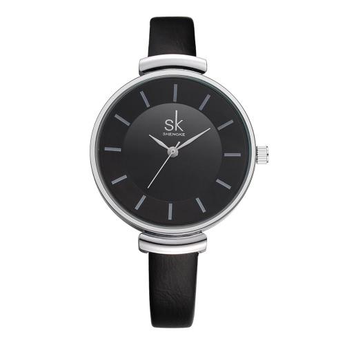 SK Marca de luxo PU Leather Strap Quartz Mulher Relógios Simplicidade analógico 30M à prova de água de pulso Ladies Feminio Relogio
