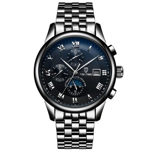 TEVISE Luksusowa fala księżyca świetlna odporna na wodę Automatyczny Człowiek mechaniczny zegarek Stal nierdzewna samonośna kobieta Zegarek na rękę Masculino Relogio + Box