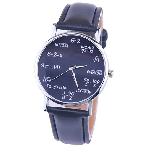 OKTIME Wandergirls Mathematische Formel Unisex Quarz Trendy Armbanduhr Edelstahl Leder Gürtel Uhren