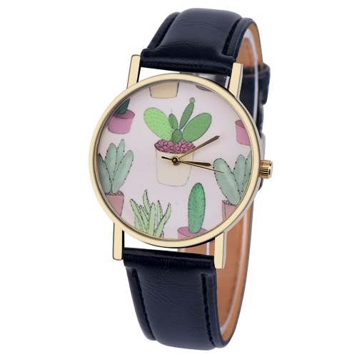 OKTIME Fashion Women Watch Leather Band Analog Round Mini Cactus Padrão Quartz Vogue Relógio de pulso