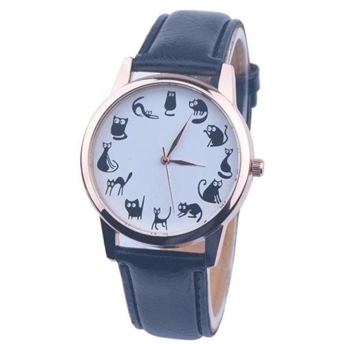 OKTIME Neue Karikatur-Uhr-Frauen-Art- und Weisebeiläufige Uhr-kleine Katze-Muster-Armbanduhr-Quarz-Kleid-Uhren