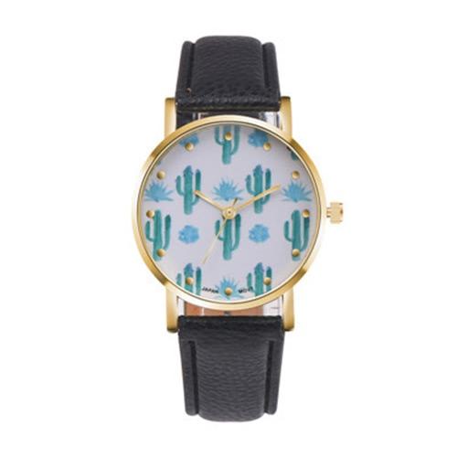 PAPHITAK Nueva moda cactus muñeca reloj de estudiante de cuarzo reloj de cuero cinturón cactus muñeca reloj