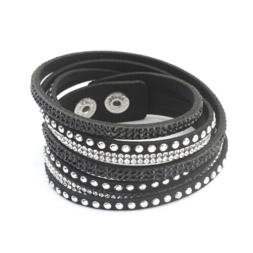 Gothic Women Fashion Multilayer Wrap Crystal Leather Wide Wristband Bracelete Bracelet Punk Jóias Punk
