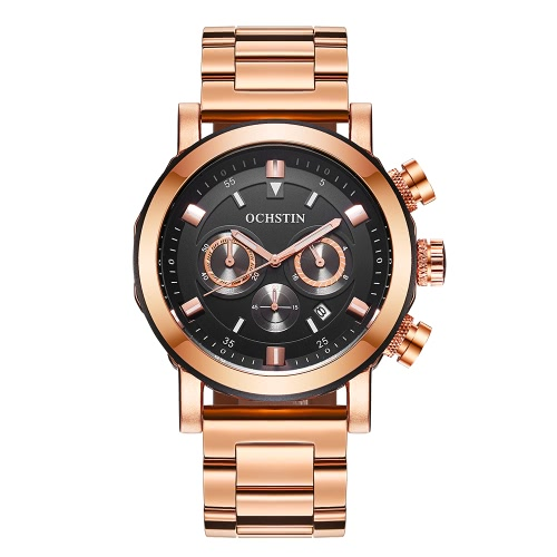 OCHSTIN Moda De Acero Inoxidable Hombres Reloj De Prueba De Agua Cronógrafo Casual Reloj De Reloj De Hombre De Estilo De Estilo Reloj Casual + Caja