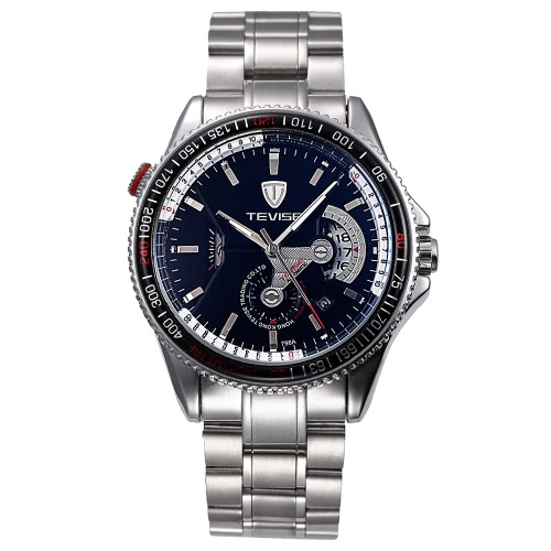 TEVISE Brand Water-Proof Automatic Mechanical Men Watch Luminoso Faixa de aço inoxidável Auto-vento mecânico Relógio de pulso Sports Casual Watch Melhor presente + caixa