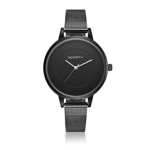 REBIRTH Marca Modern Simplicity Stainless Steel Women Relógios Quartz Water-Proof Bracelet Watch Ladies Casual Relógio de pulso Melhor presente