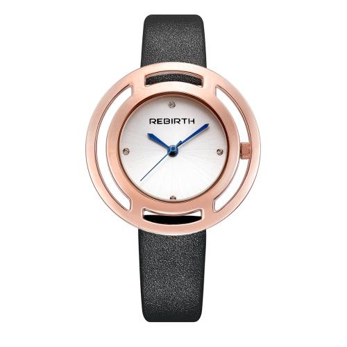 REBIRTH Marken-Luxuxdiamant-Quarz-Frauen-Uhren Wasser-Beweis PU-lederne Dame-beiläufige Armbanduhr ultra dünnes Zifferblatt-bestes Geschenk