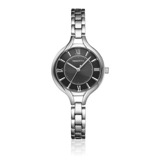 REBIRTH marca de lujo de acero completo mujer reloj de negocios reloj de cuarzo a prueba de agua damas reloj pulsera corchete ultra delgado dial reloj de pulsera casual mejor regalo