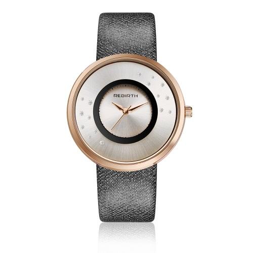 REBIRTH Marken-Luxuxdiamant-Quarz-Frauen-Uhren Wasser-Beweis PU-lederne Dame-beiläufige Armbanduhr-gutes Geschenk