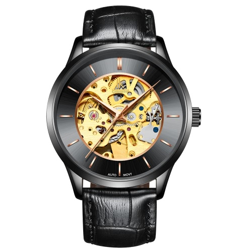 IK COLOURING Luxury Skeleton Automatic Mechanical Men Watch Genuine Leather Self-Wind Watch Man Casual Wristwatch