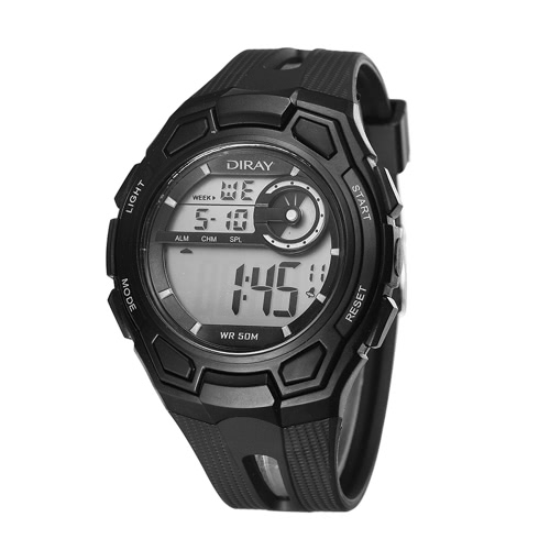 DIRAY 50M Water-resistant Large Dial Digital Men Relógios Sport Relógios de pulso Luminous Military Relogio Masculino