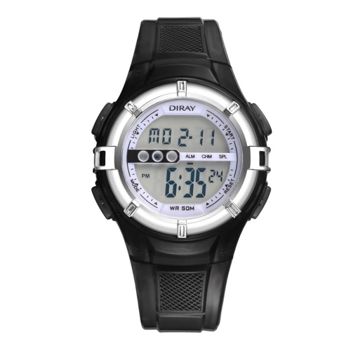 DIRAY Digital Children Student Watch Relógios de esporte 5ATM Water-resistant Boys Meninas Kids Relógio de pulso com alarme LED Backlight Function