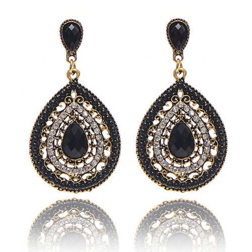 Moda Bohemian Style Crystal Water-drop Earrings para Mulheres Delicate Jewelry Accessory