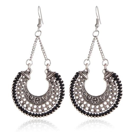 Moda jóias étnicas femininas étnicas Vintage Hollow Flower Basket Charm Drop Earrings